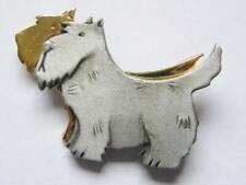 PEWTER + GILT SCOTTISH TERRIER PAIR BROOCH PIN