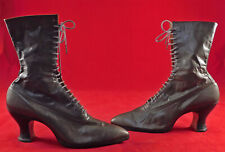 Vintage Victorian Unworn Gray Leather High Top Lace-up French Spool Heel Boots