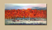 ZWPT1541 long 100% hand painted oil painting red tree landscape art on Canvas