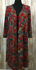 Lularoe Sarah Cardigan Red Roses Green Leaves Stretchy Pockets SZ Small 6-8