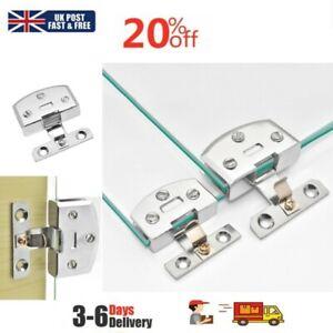 Bathroom Durable Shower Glass Door Hinges Cabinet Cupboard Hardware Clamp Kit UK
