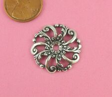 VINTAGE DESIGN ANT SILVER ROUND FILIGREE W/HOLE - 2 PC(s)