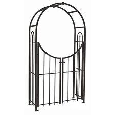 Garden arbour with gates 229cm high garden arch arbour bronze black steel