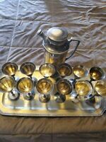 16pc Vintage Silver Plated Tea Set Teapot w/ Serving Tray & 12 cups
