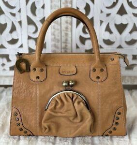 Betsey Johnson Camel Leather Satchel Handbag Purse Rare Medium in Size Kisslock