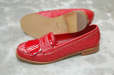 WOMAN - 38 - PENNY LOAFER - GENUINE RED OSTRICH - LEATHER SOLE