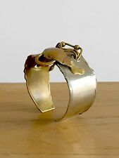 1970 BRACELET SCULPTURE POST-MODERNISTE SHABBY-CHIC BRUTALIST BRONZE