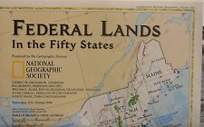 1996 National Geographic 2-Sided map of Federal Lands in the Fifty States
