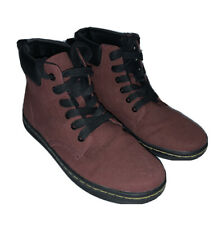 DOC MARTENS Red Burgundy Canvas Hightop Boots Shoes Womens 7 EUC