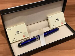 Electric BLUE Fountain Pen Set + 10 Black Ink Cartridges & Leather Gift Box