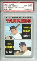 1970 Topps Baseball #189 Thurman Munson Rookie Card RC Graded PSA NM MINT 8