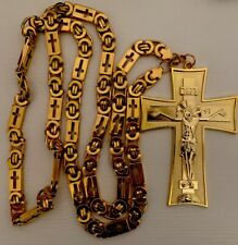 Christian Orthodox Pectoral Priest Cross 10,7 cm with Chain 110 cm