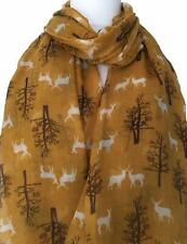Stag Scarf Mustard Yellow Deer Deers Wrap Brown Trees Tree Reindeer Shawl Stags