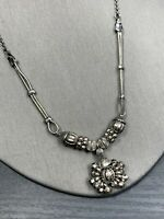 Designer Signed Pendant Necklace Silver Long Dangle Charm Double Chain 17-18""