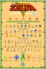 Nintendo Legend of Zelda NES Monster & Item Guide 24x36 Video Game Giclee Poster