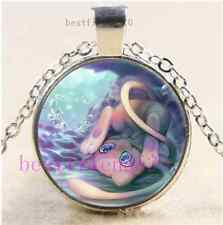 Pokemon Mew Photo Cabochon Glass Dome Silver Chain Pendant Necklace