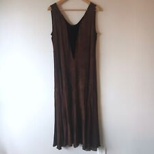 Vintage Kush M Dress Brown Tie Dye Flared Velvet Tank Draped Maxi Boho Acid Wash