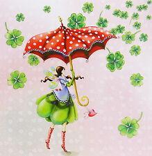Nina Chen*Postkarte*14x14*Elfe/Fee mit Regenschirm+Glücksklee*Grußkarte Glitzer