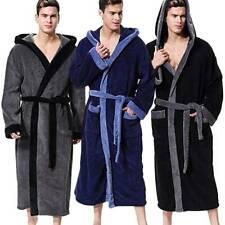 Men's Bath Robe Coat Hooded Bathrobe Cloak Soft Winter Warm Fleece Dressing Gown