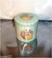 Vintage 1940's 1950's Lipton's Tea Tin Can, Blue with Girl in Flower Garden
