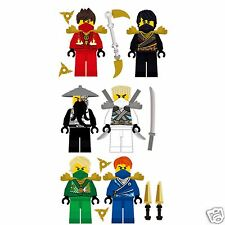 Lego Ninjago 6 Ninjas Removable Wall Stickers Set with 8 free weapons