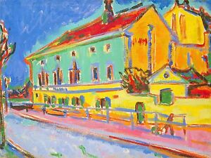 ERNST LUDWIG KIRCHNER GERMAN HOUSES DRESDEN OLD ART PAINTING POSTER BB5282A