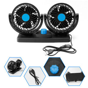12V Dual Head Car Fan Vehicle Truck Headrest 360° Rotatable  Auto Cooling Cooler