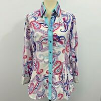 Robert Graham Womans  paisley roll up contrasting sleeves button Up Size Medium