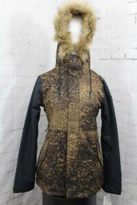 Volcom Fawn Insulated Snow Jacket, Womens' Medium, Black Combo/Leopard Print New