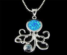 incrustation Opale Véritable Topaze bleu argent 925 hawaïen pendentif pieuvre