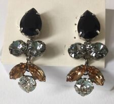 SORRELLI Crystal Lotus Flower Earrings Black Amber Clear Pierced Dangle NEW
