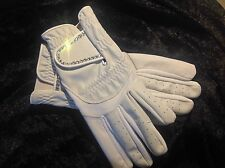 White Leather Competition Ladies Dressage Gloves With Swarvoski Crystals 💎💎