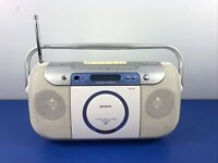 Sony CFD-E100 Portable CD Radio Cassette Boombox Tested Working Sounds GREAT!