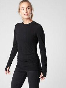 ATHLETA Foresthill Merino Wool Ascent Top M Medium | Black NEW