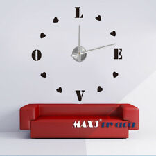 Self-Adhesive Modern 3D Frameless DIY Wall Clock Room Love Heart Decor 12S011