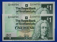 "2x 2001 Royal Bank of Scotland plc £1 One Pound ""C"" banknote CONSECUTIVE [21852]"