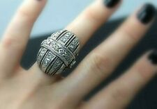 VICTORIAN ERA GENUINE ROSE CUT DIAMONDS SOLID 950 SILVER TWISTED ROPE RING sz10