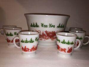 Vintage Sleigh Scene Christmas Egg Nog Set 6 Footed Mugs & Punch Bowl Milk Glass