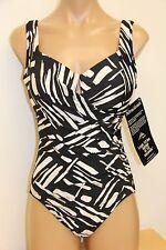 NWT Womens Miraclesuit Swimsuit 1 one piece Escape swimwear Sz 8 Black WHT