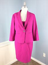 ANN TAYLOR L 12 P Fuchsia Hot Pink Sheath Dress Suit Blazer Career Cocktail EUC