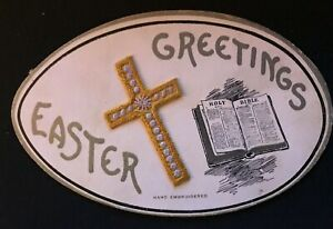 Rare~SILK Embroidered~Cross with Bible Oval Egg Shaped~Easter Postcard-g129