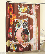 Owl Friend Shower Curtain Fabric Brown Whimsical Bath Decor