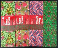 4 Packages Vintage Christmas Gift Wrap Wrapping Paper Pink Girls Candy Canes