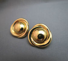 Monet Comfort Clip Earrings Gold Plated Excellent Smooth Design Round Raised Ctr