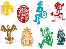PAINTING BIZARRE AZTEC SYMBOL COLLAGE ART PRINT POSTER MP5153A