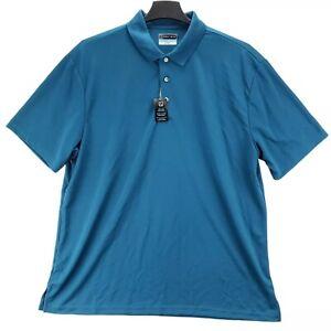 PGA Tour Men Golf Polo Shirt Teal Blue Airflux XXL Athletic Stretch Collared NW
