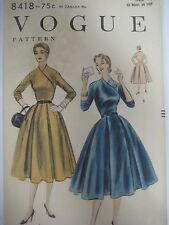 Vintage 1954 Vogue HIGH DIAGONAL NECK CLOSING DRESS Sewing Pattern Women Size 14