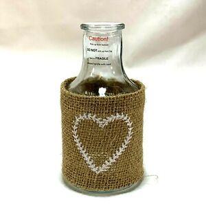 Mini Glass Vase Burlap Heart Tiered Tray Decor Farmhouse Wedding