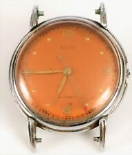 VINTAGE RELIDE WATCH CO RED ORANGE FACE SWISS 17J WRISTWATCH MILITARY DIAL !