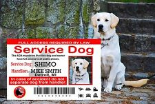 Service Dog Card, Service Animal ADA Wallet Card, Service Dog Id Tag Card, SD
